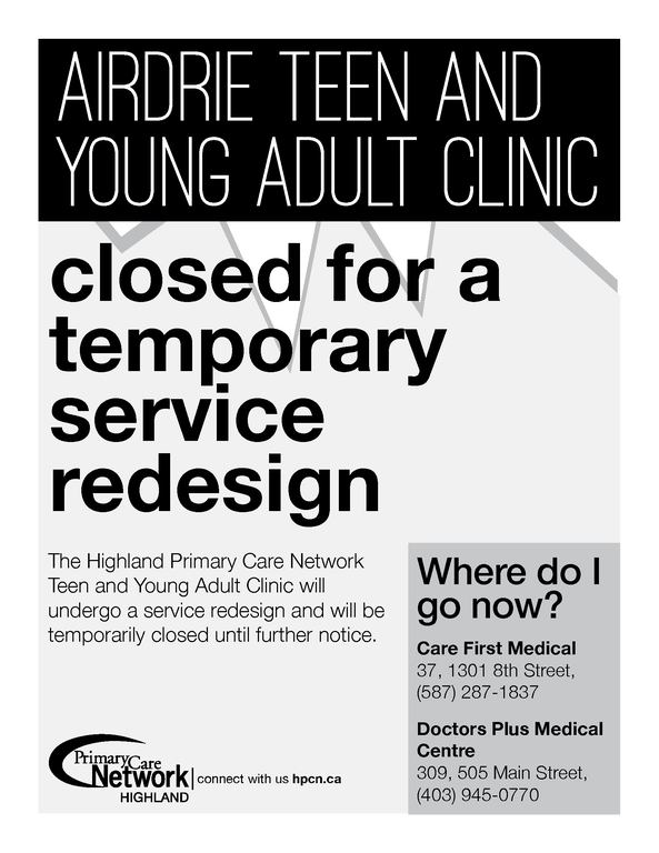teen and young adult temporary closure poster